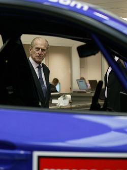 HRH Prince Philip, Duke of Edinburgh, on his visit to the Subaru World Rally Team prior to Wales Rally GB