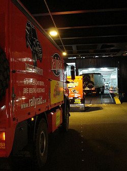 Rally Raid UK truck enters the boat at Le Havre for the crossing to Buenos Aires