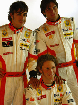Fernando Alonso, Romain Grosjean and Nelson A. Piquet