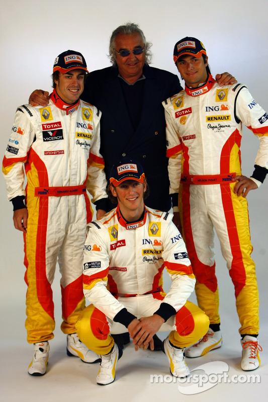 Fernando Alonso, Flavio Briatore; und Nelson A. Piquet, Renault