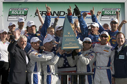 DP victory lane: class and overall winners David Donohue, Antonio Garcia, Darren Law and Buddy Rice celebrate with Brian Redman and Brumos Racing team members