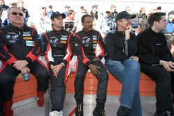 Drivers meeting: Leo Hindery Jr., Darren Manning, Bill Lester and Kyle Petty