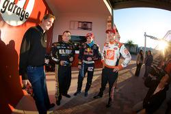 Raybestos Rookie of the Year radio-controlled car race event: Ryan Newman, Stewart-Haas Racing Chevrolet, Scott Speed, Red Bull Racing Team Toyota, and Joey Logano, Joe Gibbs Racing Toyota