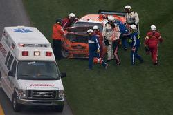 Joey Logano, Joe Gibbs Racing Toyota out of his car after his crash