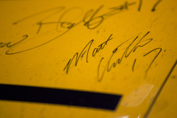 Champion's breakfast: Matt Kenseth's signature on the 2009 Daytona 500 Roush Fenway Racing Ford on display inside the Daytona 500 Experience building where it will remain for a full year