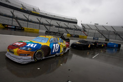 The #18 M&Ms Toyota sits on pit road as qualifying is rained out