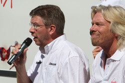 Ross Brawn Brawn GP Team Principal, Sir Richard Branson CEO of the Virgin Group makes and announcement regarding the Virgin sponsorship deal with Brawn GP