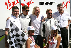 Sir Richard Branson CEO of the Virgin Group makes and announcement regarding the Virgin sponsorship deal with Brawn GP, Nick Fry, Brawn GP, Chief Executive Officer, Jenson Button, Brawn GP, Sir Richard Branson, Virgin Group CEO, Rubens Barrichello, Brawn