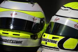 The helmets of Rubens Barrichello, Brawn GP and Jenson Button, Brawn GP