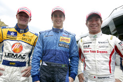 Diego Nunes celebrates his victory with James Jakes and Kamui Kobayashi