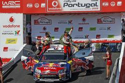 Podium: winners Sébastien Loeb and Daniel Elena celebrate