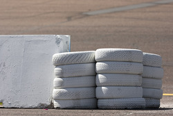 Tires are used as barriers at the entrance of pit road at the Phoenix International Raceway