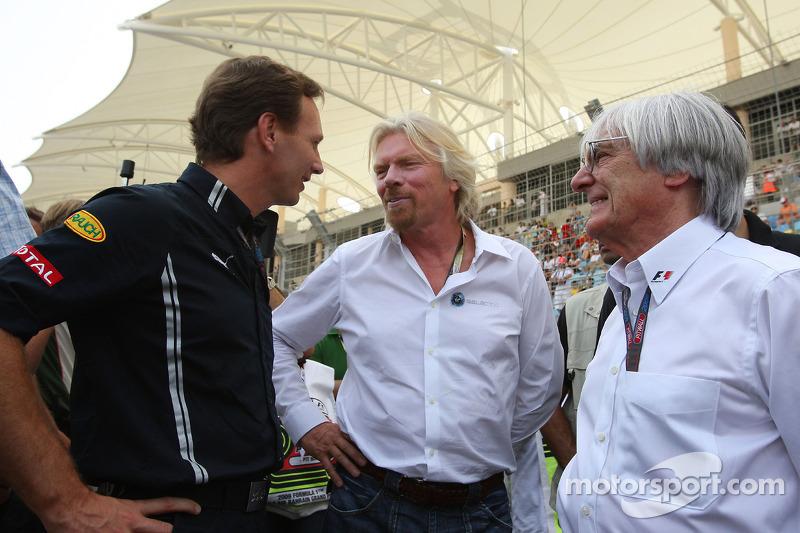 Christian Horner, teambaas Red Bull Racing, Sir Richard Branson CEO Virgin en Bernie Ecclestone, Pre