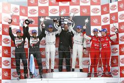 GT2 podium: class winners Emmanuel Collard and Richard Westbrook, second place Luis Perez Companc an