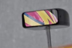 Close up detail of Graham Rahal's side mirror