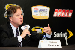 NASCAR CEO Brian France speaks with the media