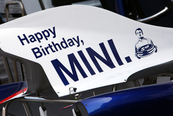 Happy Birthday mini on the engine cover of the BMW Sauber F1 Team