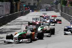 Adrian Sutil, Force India F1 Team leads Giancarlo Fisichella, Force India F1 Team