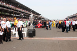 The Borg Warner Trophy sits on the yard of bricks at the Indianapolis Motor Speedway