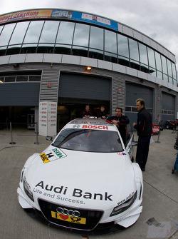 Audi Sport Team Phoenix push the Audi A4 DTM of Alexandre Prémat to technical inspection