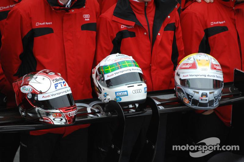 Helmets of Rinaldo Capello, Allan McNish and Tom Kristensen