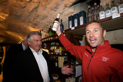 Hand imprint ceremony: Tom Kristensen finds a Danish liquor at the reception
