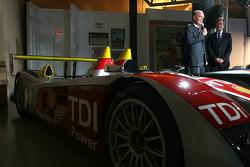 Wolfgang Ullrich, Jean Claude Plassart and Daniel Poissenot with the Audi R10 TDI