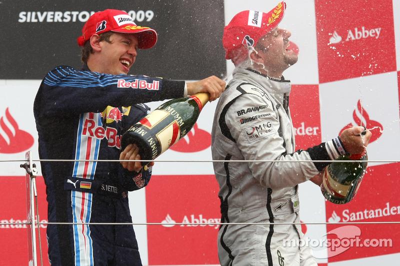 Podium: race winner Sebastian Vettel, Red Bull Racing, third place Rubens Barrichello, Brawn GP