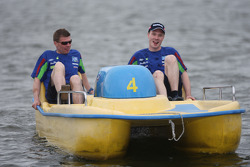 Jari-Matti Latvala and Miikka Anttila change from horse power to pedal power, as they compete in the pedalo race