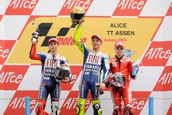 Podium: race winner Valentino Rossi, Fiat Yamaha Team, second place Jorge Lorenzo, Fiat Yamaha Team, third place Casey Stoner, Ducati Marlboro Team