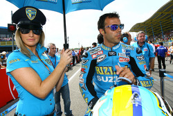 A lovely Rizla Suzuki MotoGP girl with Loris Capirossi, Rizla Suzuki MotoGP