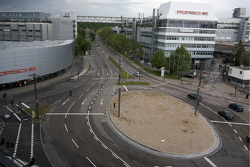 Porscheplatz and a view of the Zuffenhausen production plant