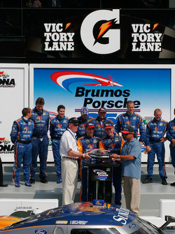 Victory lane: race winners Max Angelelli and Brian Frisselle celebrate with SunTrust Racing team members