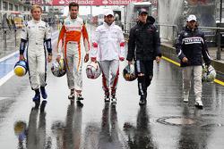 Nico Rosberg, Williams F1 Team, Adrian Sutil, Force India F1 Team, Timo Glock, Toyota F1 Team, Sebastian Vettel, Red Bull Racing, Nick Heidfeld, BMW Sauber F1 Team
