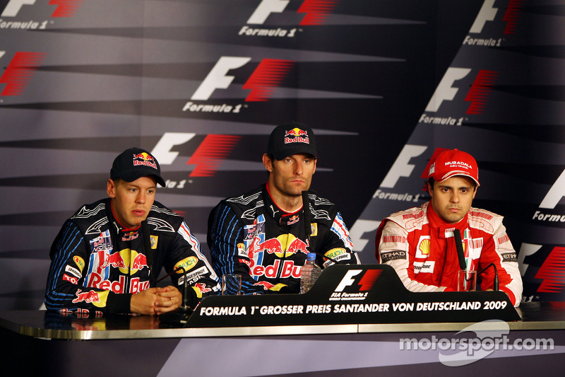 FIA press conference: race winner Mark Webber, Red Bull Racing, second place Sebastian Vettel, Red Bull Racing, and third place Felipe Massa, Scuderia Ferrari