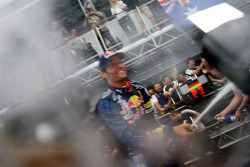 Race winner Mark Webber, Red Bull Racing celebrates with champagne