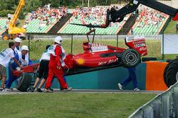 La Ferrari de Felipe Massa après son crash
