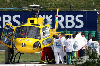 Felipe Massa is taken to the hospital after his crash