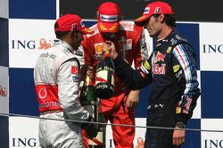 Podium: race winner Lewis Hamilton, McLaren Mercedes, second place Kimi Raikkonen, Scuderia Ferrari, third place Mark Webber, Red Bull Racing
