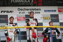 Podium: race winner Christian Vietoris, Muecke Motorsport Dallara F308 Mercedes, second place Stefan