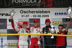 Race winner Jules Bianchi, ART Grand Prix Dallara F308 Mercedes, second place Valtteri Bottas, ART Grand Prix Dallara F308 Mercedes, third place Roberto Merhi, Manor Motorsport Dallara F308 Mercedes
