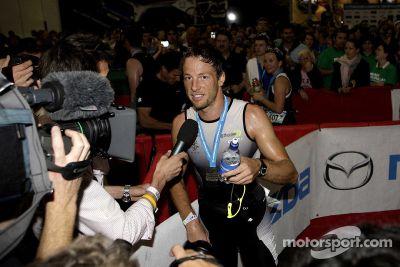 Jenson Button at the London triathlon