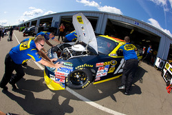 Richard Petty Motorsports Dodge pushed back in the garage