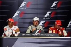 Press conference: race winner Rubens Barrichello, BrawnGP, second place Lewis Hamilton, McLaren Mercedes, third place Kimi Raikkonen, Scuderia Ferrari