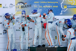 LMP1 podium: class and overall winners Jan Charouz, Tomas Enge and Stefan Mücke, second place Harold