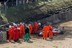 Jules Bianchi, ART Grand Prix, Dallara F308 Mercedes and Tiago Geronimi, Signature, Dallara F308 Volkswagen, crash heavily causing a red flag