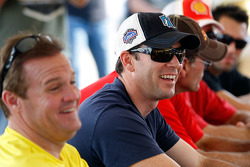 Jimmie Johnson talks with other drivers during the driver's meeting