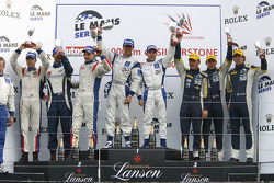 LMGT1 podium: class winners Ryan Sharp and Peter Kox, second place Roland Berville, Sébastien Dumez and Laurent Groppi, third place Julien Jousse, Patrice Goueslard and Yann Clairay