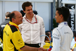 Frederic Vasseur, Renault Sport F1 Team Racing Director, Toto Wolff, Mercedes AMG F1 Shareholder and Executive Director and Pascal Wehrlein, Manor Racing