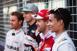 Нико Росберг, Mercedes AMG F1 Team, Нико Хюлькенберг, Sahara Force India F1, Себастьян Феттель, Ferrari и Паскаль Верляйн, Manor Racing